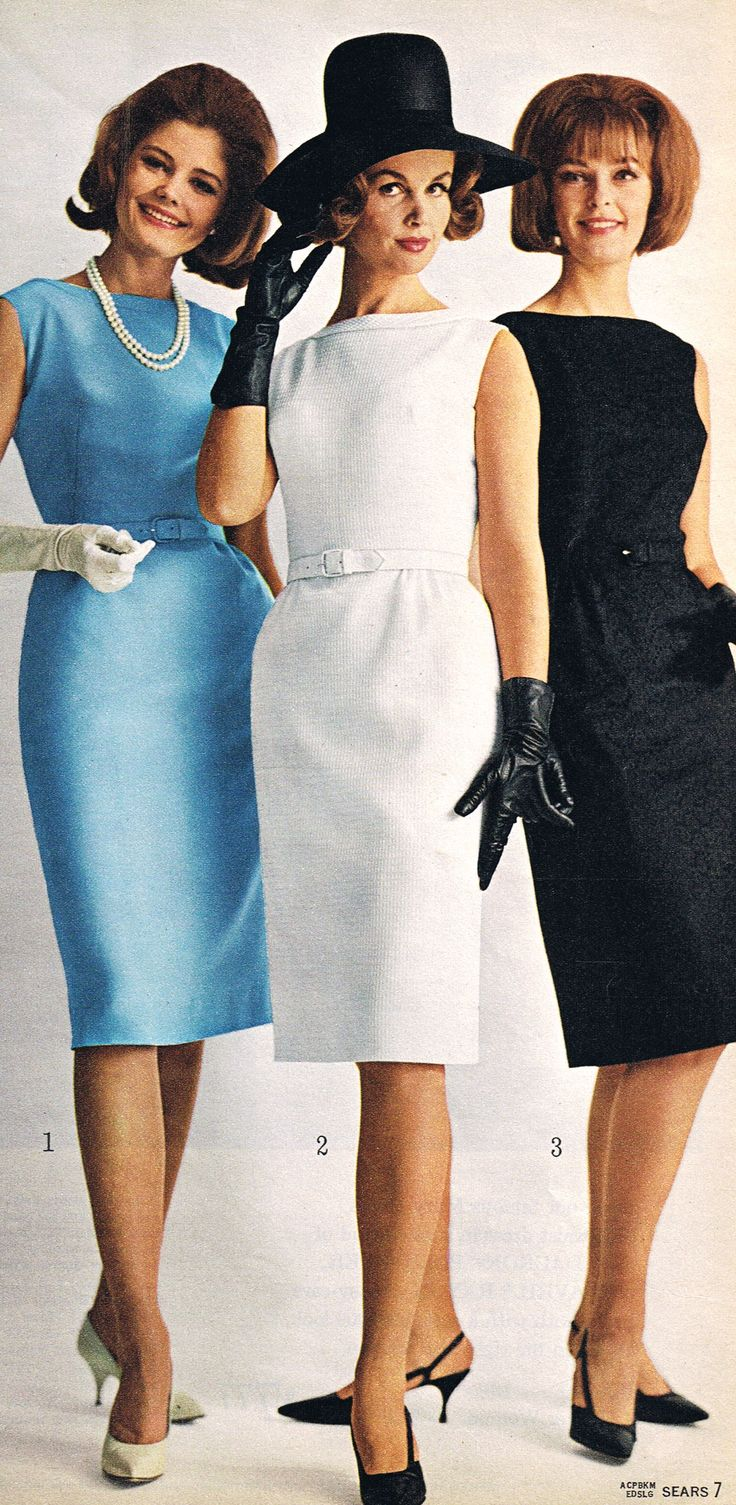 Sears 1964 vintage fashion style color photo print ad models magazine sheath dress wiggle blue white black shoes hat 60s day office elegant