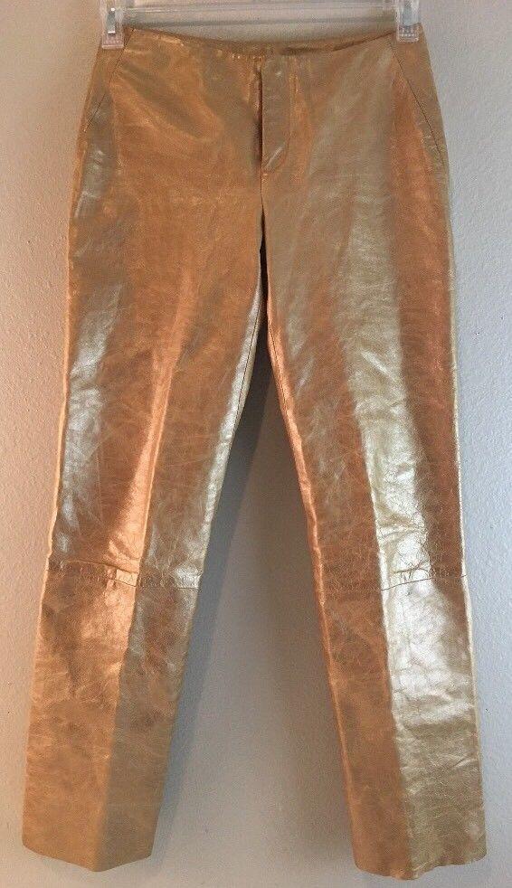 Banana Republic Leather Pants 0 Gold Slacks Career Wear Genuine Soft | eBay