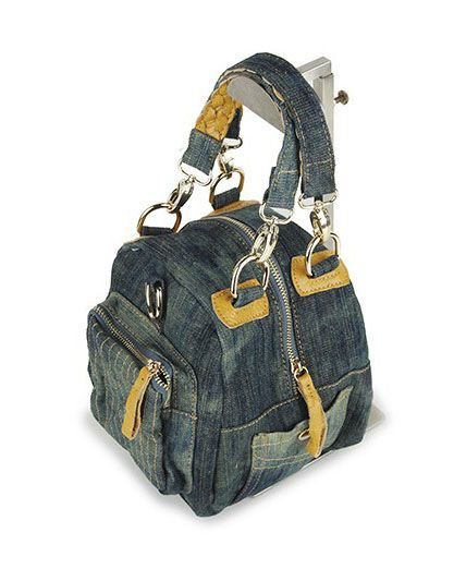 Retro Denim Shoulder Bags with Plait Handles