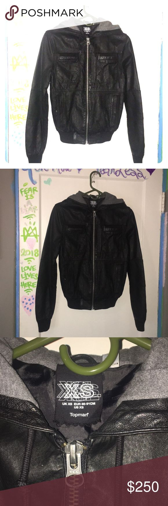 Super Cute XS Leather Jacket Bomber by Topman!❤️. Amazing, hardly worn, like twice to model, cozy fleece grey hoodie inside cap, pockets (4 two small top, and to put your hands- standard styles;)). Great coat!❤️ Mint Condition:) Topman Jackets & Coats