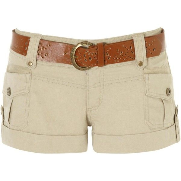 linen pocket belted shorts ($22) ❤ liked on Polyvore featuring shorts, bottoms, pants, short, women, jane norman, linen shorts, cut out shorts, zipper pocket shorts and lightweight shorts
