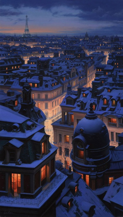 Over The Roofs Of Paris, a painting by Evgeny Lushpin: The Holidays, Winter, Favorite Places, Paris At Night, Snow, Beautiful, Paris France, Places I D, Rooftops