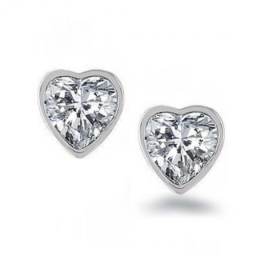 Bling Jewelry Cubic Zurconia Bezel Heart Sterling Silver Stud Earrings