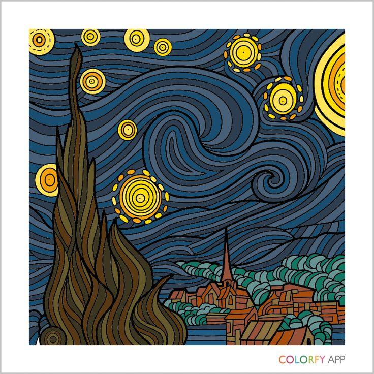 Vincent Van Gogh Starry Night Painted On Colorfy App