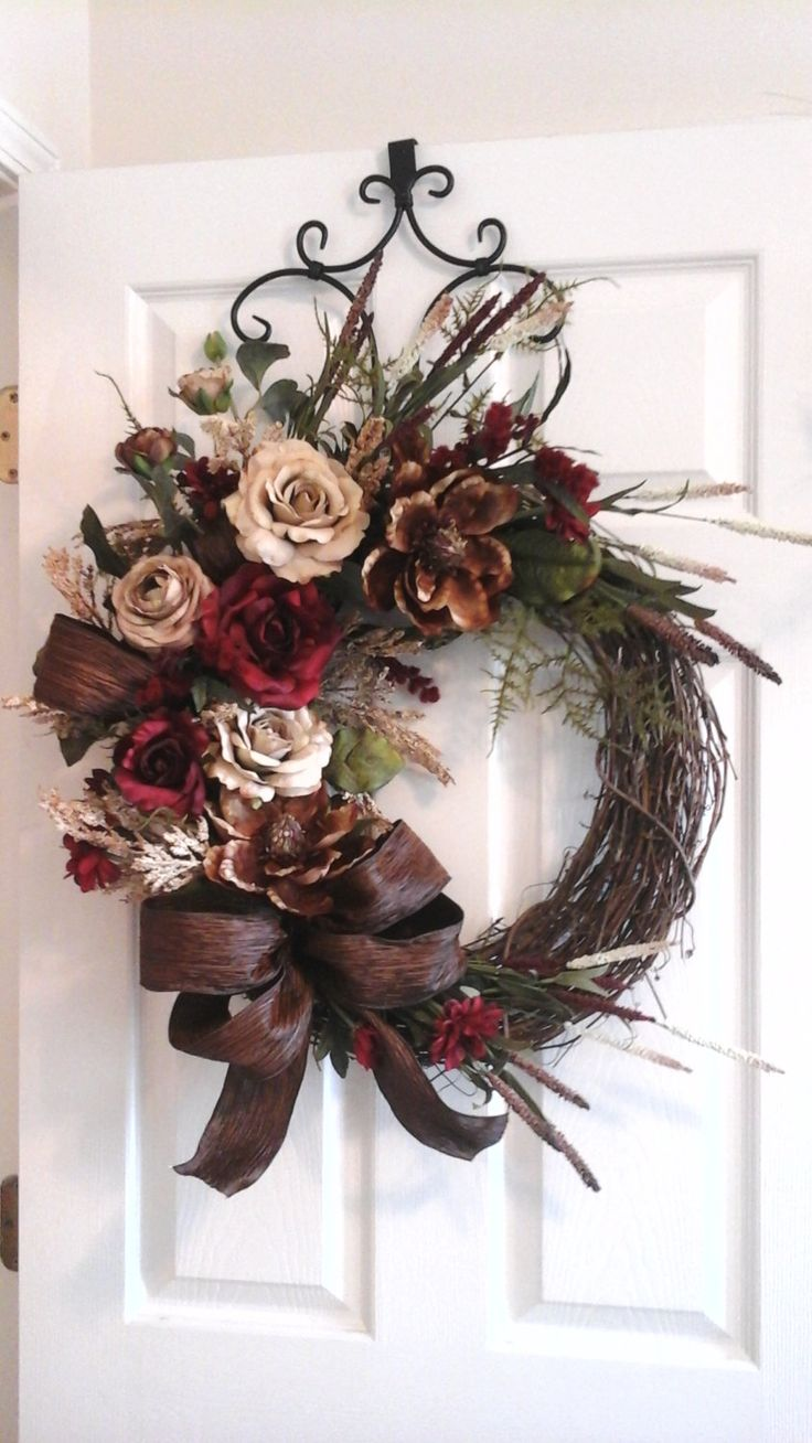 Grapevine Wreath, Elegant Designer Summer Rose, Magnolia Wreath, Luxury Door,Mantel,Living Room Floral Wall Arrangement SHIPPING INCLUDED by GiftsByWhatABeautifu on Etsy