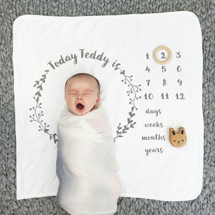 Personalised Babies Age Botanical Blanket Set