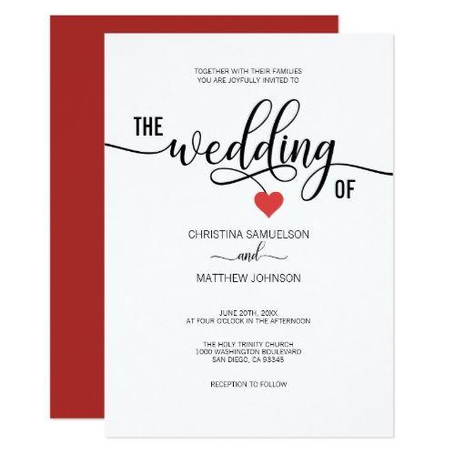 Modern Trendy Black White Red Heart Wedding Invitation Zazzle