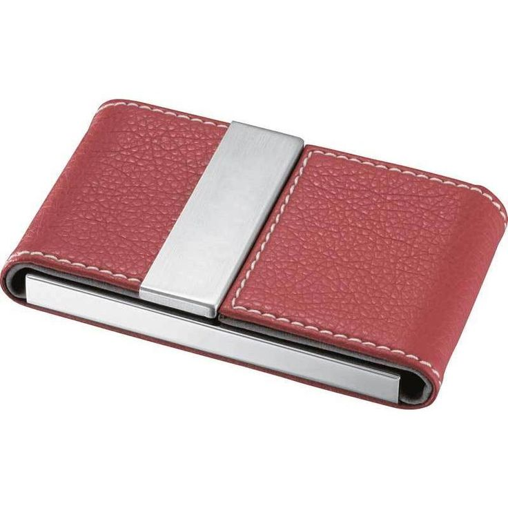 Visol Dasia Red Leather and Stainless Steel Business Card Case (Standard Size Cards), Silver, Size 2
