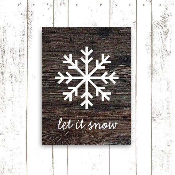 Snowflake Art, Christmas Decor, Wood Art Print, Christmas Sign, Let It Snow on Etsy, $18.00