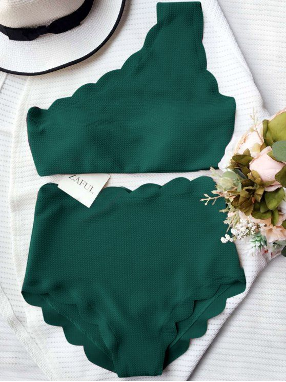 Bikini alto con cintura y festoneado con un hombro - Verde negruzco M