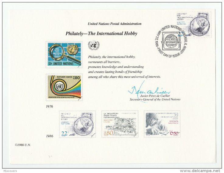 1986 UN CHICAGO  FDC ( SOUVENIR CARD ) Philately An International Hobby STAMP ON STAMPS United Nations - Stamps On Stamps