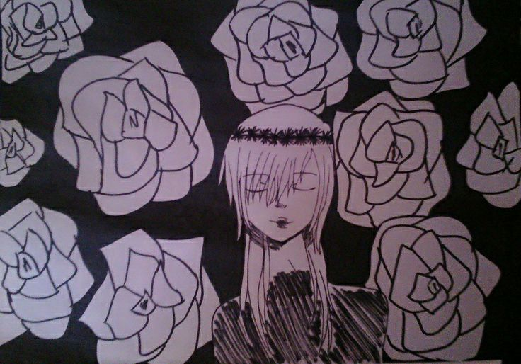 This neck is TOO LONG. But i like it anyways :3  #Girl #Draw #Roses #Crown #Black #Darkness