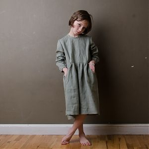 Mákvirág — Smocked sleeve dress olive