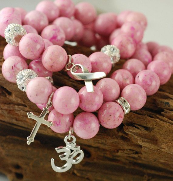 Breast Cancer Pink Stretch Bracelet..beautiful pink with a meaning!