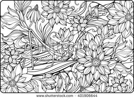 coloring page with lots of flowers and big grasshopper