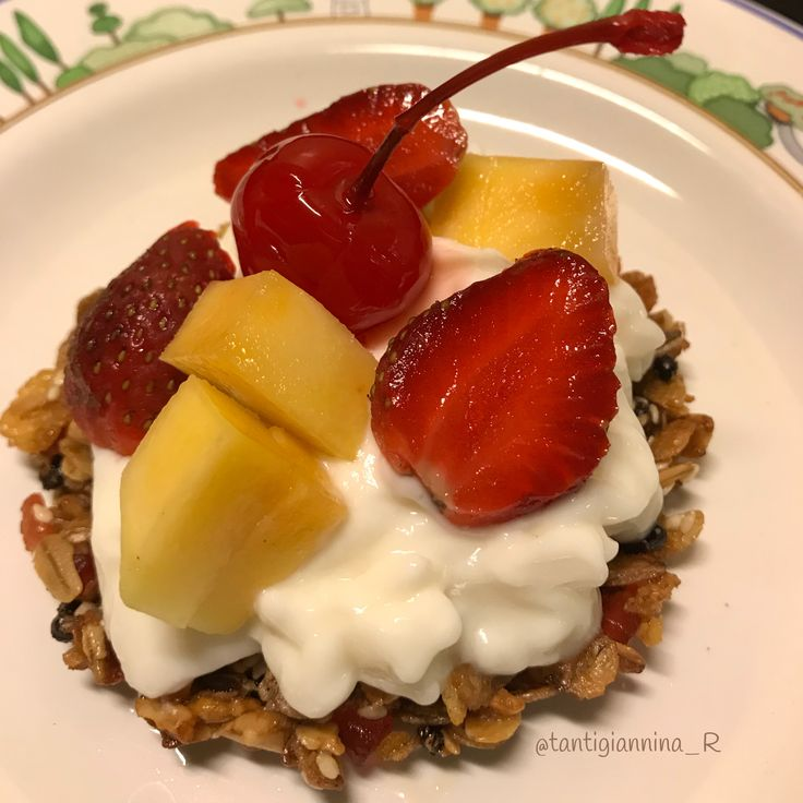 Granola cup with fruit and yogurt