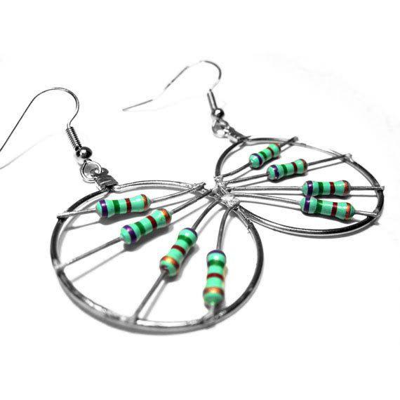 upcycled jewelry handmade circuit board jewelry
