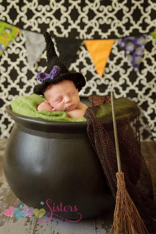 This crochet witch hat is so cute for Halloween, dress-up, parties, pictures, and more. This adorable hat would be so cute for newborn pictures, photography props, and everyday fun. This listing is fo