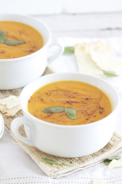 Roasted Sweet Potato Apple and Sage Soup | Deliciousness | Pinterest