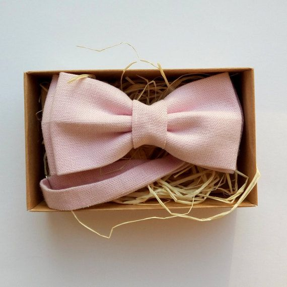 Blush Linen Bow Tie / Light pink bow tie light by ArtOfLithuania
