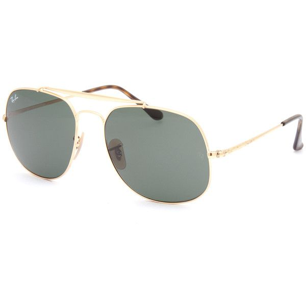 Ray-Ban General Sunglasses ($160) ❤ liked on Polyvore featuring accessories, eyewear, sunglasses, metal frame glasses, aviator style sunglasses, aviator glasses, ray ban sunnies and square aviator glasses
