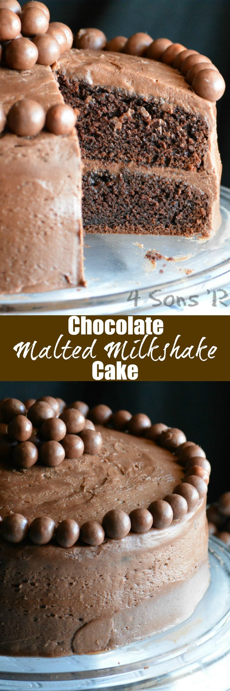 A moist and fluffy chocolate layer cake with malted chocolate frosting in between every layer-- the Chocolate Malted Milkshake Cake tastes just like the Chocolate Malted Milkshakes you loved as a kid. #SummerDessertWeek #ad