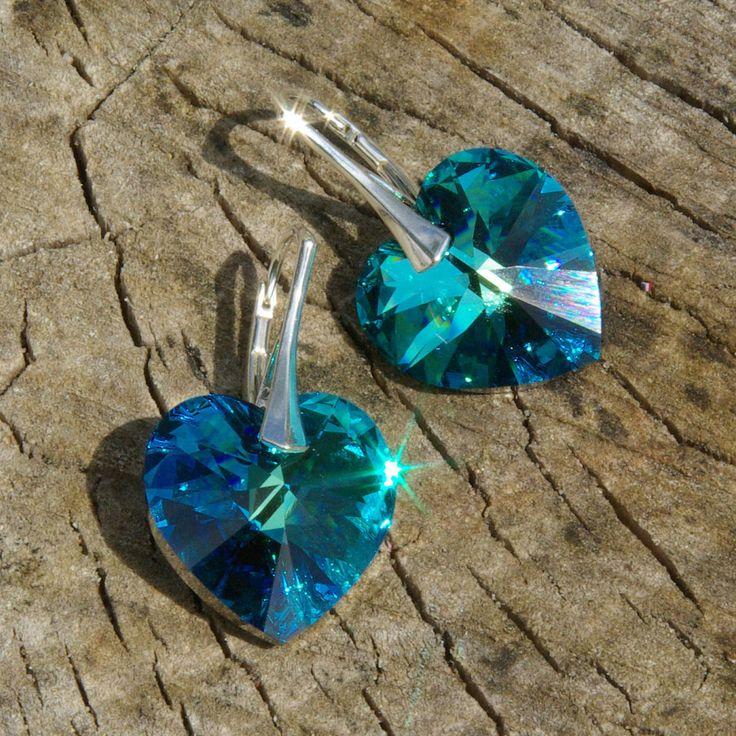 Swarovski Heart Earrings, Ocean Blue Heart Earrings, Swarovski Bermuda Blue, Blue Swarovski Earrings, Long Swarovski, Crystal Leverback by AuroraCrystalPassion on Etsy