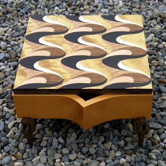 Marquetry box by Talar and Jean-Claude Prefontaine (Calgary, AB). Members of the Alberta Craft Council