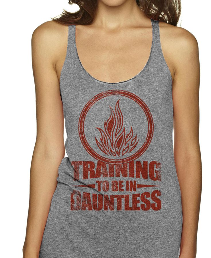 Training to be in Dauntless (red) on an Athletic Grey Racerback