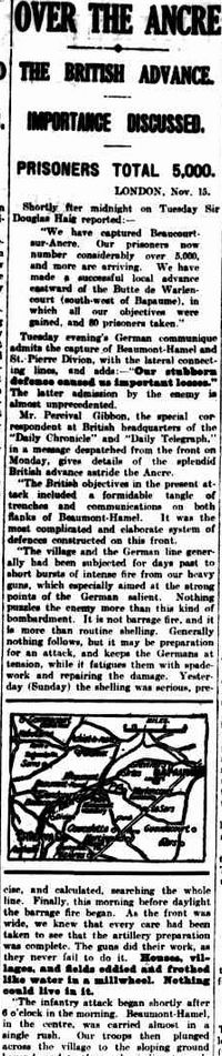 """WWI, 16 Nov 1916;""""We have captured Beaucourt-sur Ancre. Our prisoners number over 5,000, and more are arriving."""" -The Argus, Melbourne"""