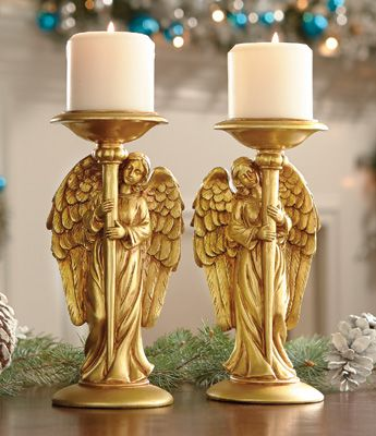Angel Gold Toned Candle Pillar Holders- Set of 2 So pretty! Mom would love these!