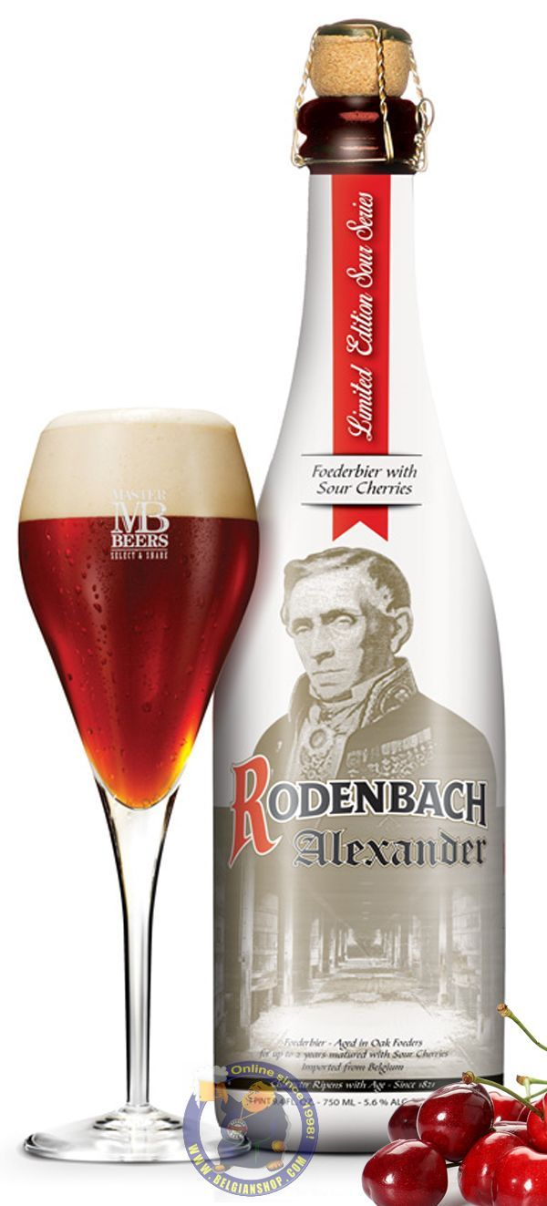 Our New Beer: Rodenbach ALEXANDER Available at http://store.belgianshop.com/flanders-red/1974-rodenbach-alexander-56-34l.html Stock Limited!! Rodenbach Alexander was brewed for the first time in 1986 on the occasion of Alexander Rodenbach's 200th birthday and is now back by popular demand to the delight of beer lovers in Belgium and abroad. It is a blend of 2/3rd aged Rodenbach (100% 2 year aged beer) with 1/3rd younger ale, macerated with sour cherries. The natural flavour and taste of sour