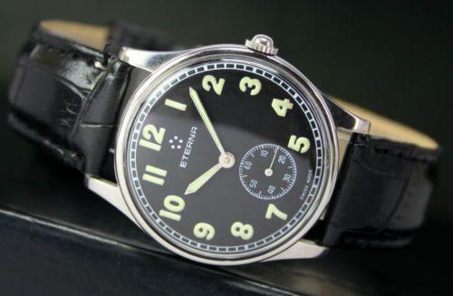 ETERNA-Watch-Co-Handaufzug-Seite-Secunde-Stahl-Vintage-Herren-Uhr-Watch-Schwarz