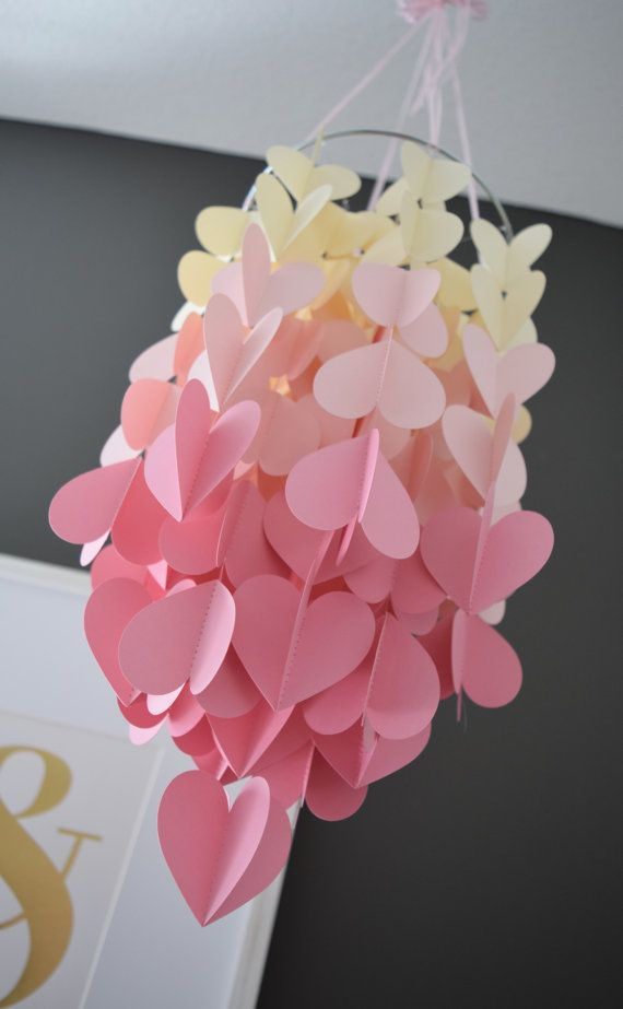 Pink & Cream Upside Down Ombre Heart Paper by TrueLoveAndPaper