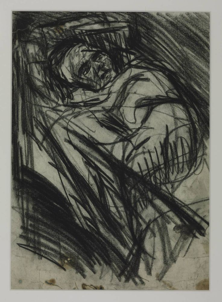 Leon Kossoff    Drawing for 'Woman Ill in Bed Surrounded by Family (Rosalind)' 1965   t03279   London 1984 'Drawing for 'Woman Ill in Bed Surrounded by Family (Rosalind)'', Leon Kossoff - Tate collection [On paper, unique, 1960-9]