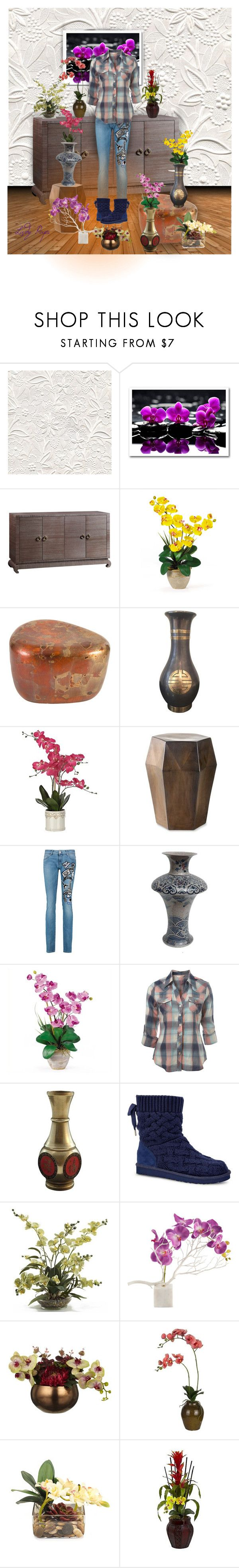 """""""Orchids for Sale"""" by papillon-ze-cat ❤ liked on Polyvore featuring Bungalow 5, Williams-Sonoma, Pierre Balmain, Nearly Natural, Miss Selfridge, UGG, Home Decorators Collection, Sia and John-Richard"""