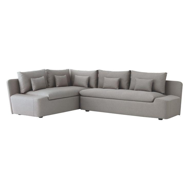 KASHA Grey fabric left-arm corner sofa