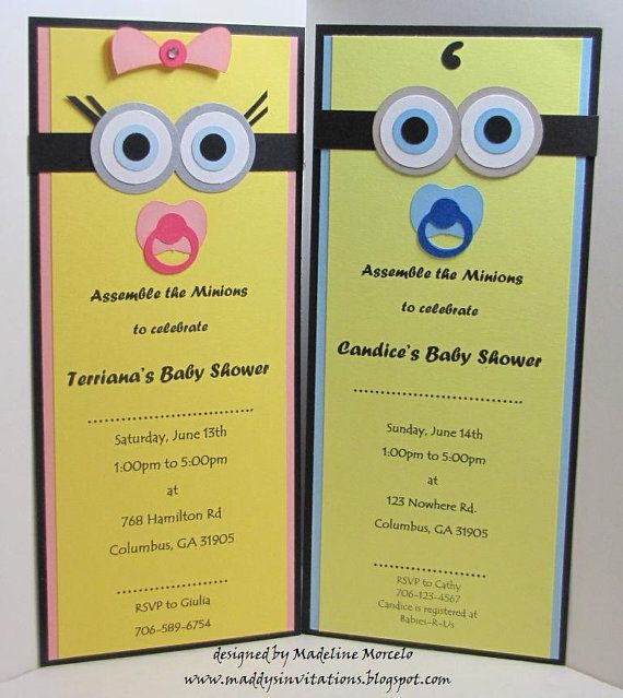 Handmade Minion Or Boy Baby By Maddysinvitations Invitations Me Pinterest Shower And