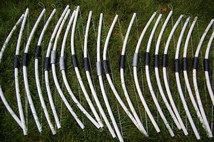 """These worked SO well. I used CPVC (not pvc), which was more flexile. Each piece was about 32 inches and was notched at the ends with a bandsaw. Then, string was tied and put in as shows. The arrows are 3/8"""" dowel rods, cut to 15 inches. The ends are notched with the band saw so they fit on the string and the points are pointed pencil eraser caps. They're very safe, but go a LONG way."""
