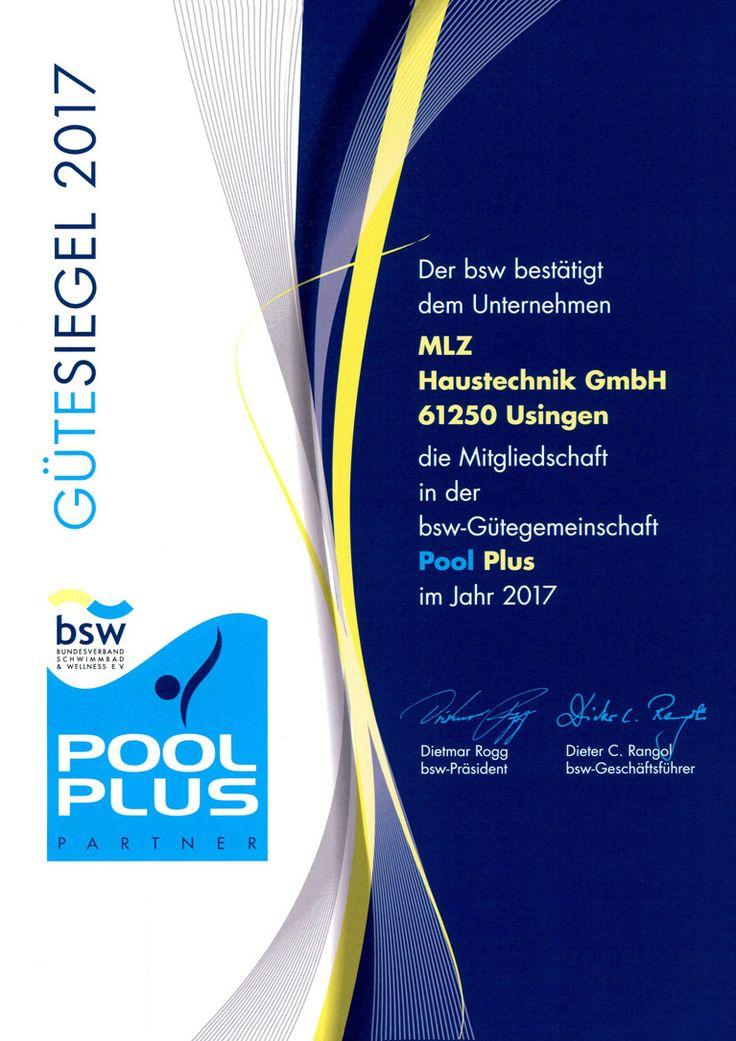 Pool Plus - bsw Gütesiegel 2017  MLZ Pools & Wellness