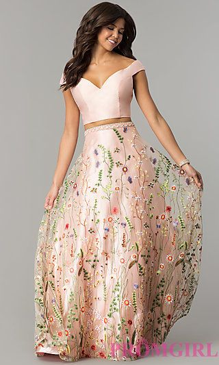 b4717db5baa Two-Piece Off-the-Shoulder Embroidered Prom Dress in 2019