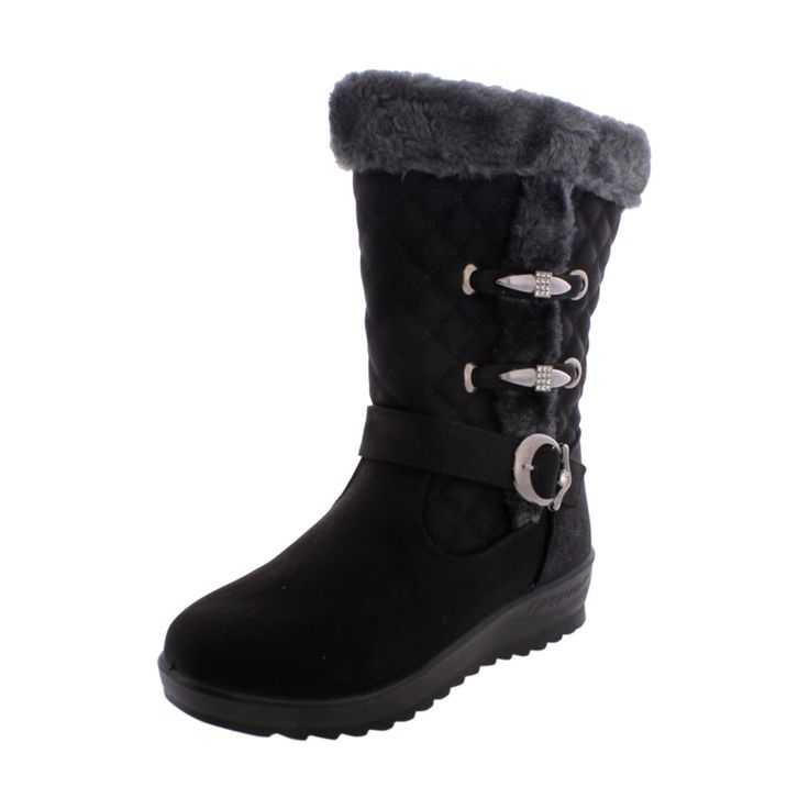 Golden Road - Women Buckle Cold Weather Boot - Black