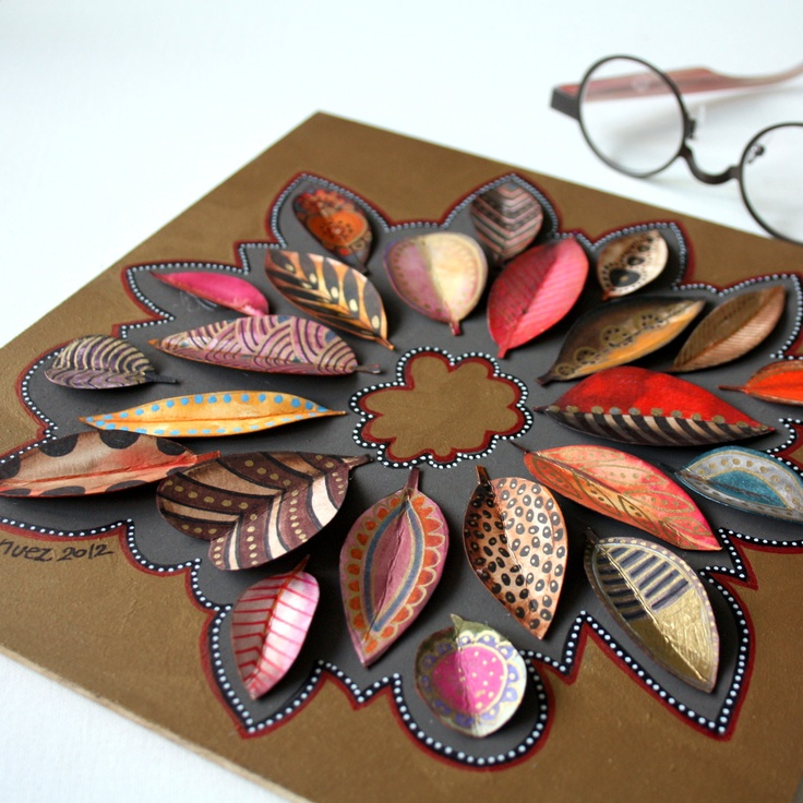 Hand painted paper leaves we could paint th leaves to add texture