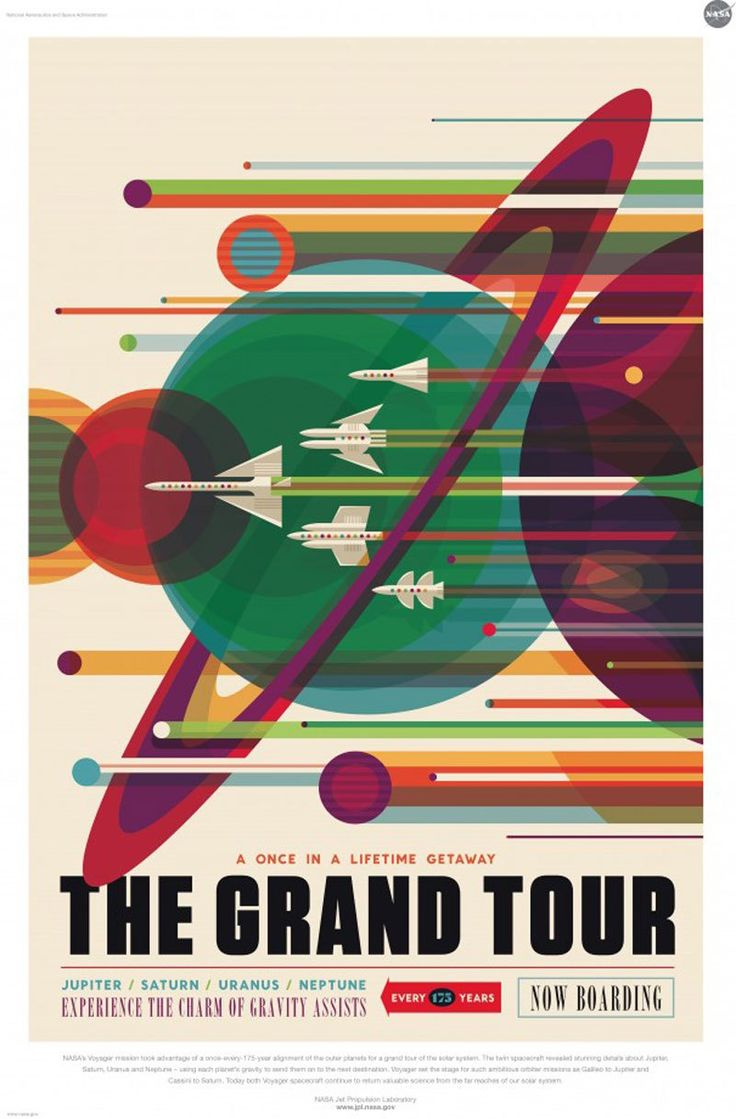 Vintage style space travel posters released by NASA
