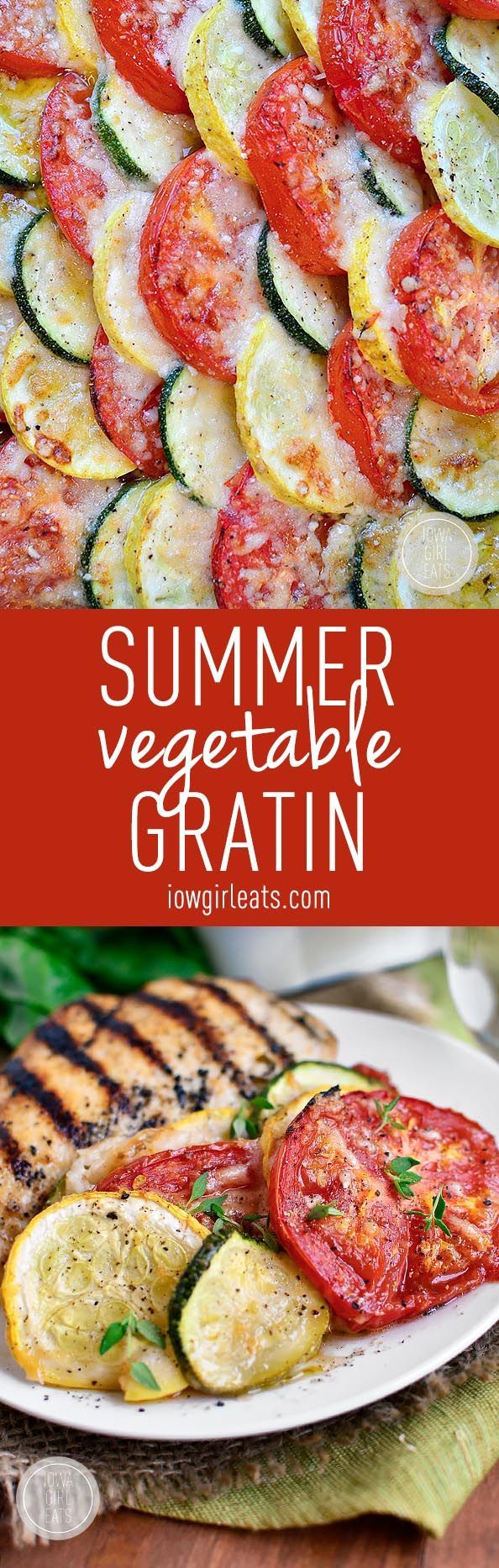 Fresh summer vegetables are sliced, baked, and then layered under a blanket of parmesan cheese in this simple Summer Vegetable Gratin side dish! #glutenfree | iowagirleats.com