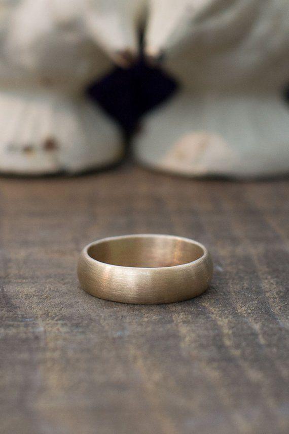 Men S Matte Wedding Ring 14k Gold Half Round Brushed Etsy 14k Gold Wedding Ring 14k Wedding Rings Titanium Wedding Rings
