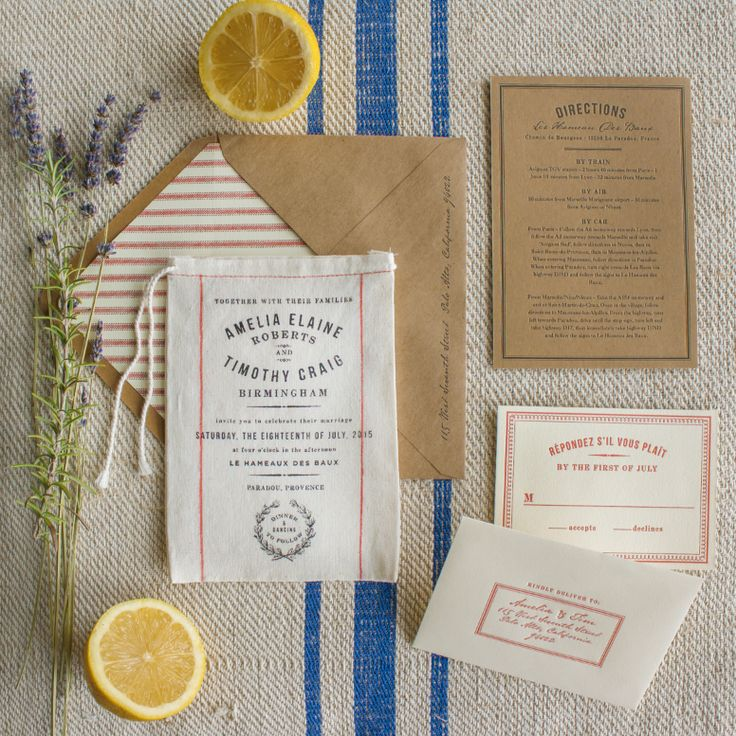 Market | From the rolling hills of Northern California to the lavender fields of Provence, Market is the quintessential wedding invitation for an elegant rustic wedding in the countryside. Inspired by French grain sacks and fresh picked farmer's market herbs, enclosure cards tuck perfectly inside our 100% cotton miniature grain sack invitations which are available plain or in vintage red stripes. Visit www.lucky-luxe.com for more history-inspired fabric and letterpress invitations.