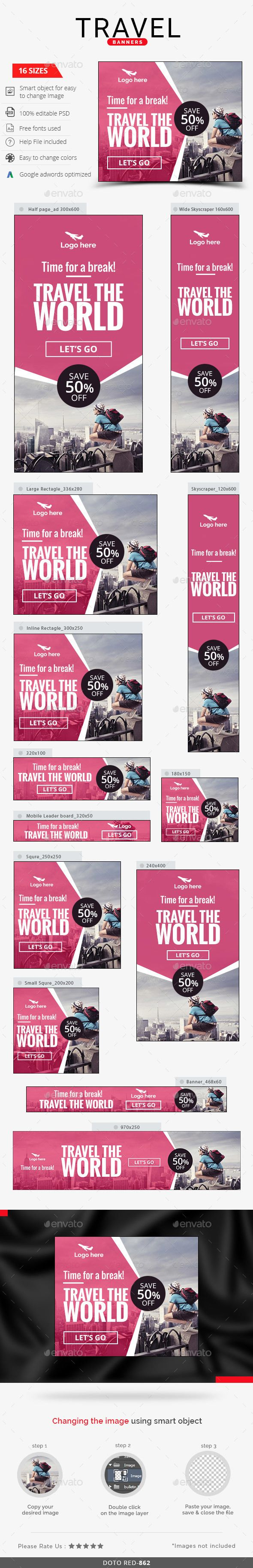 16 Sizes Travel Web Banners Template PSD #design #ads Download: http://graphicriver.net/item/travel-banners/13737176?ref=ksioks