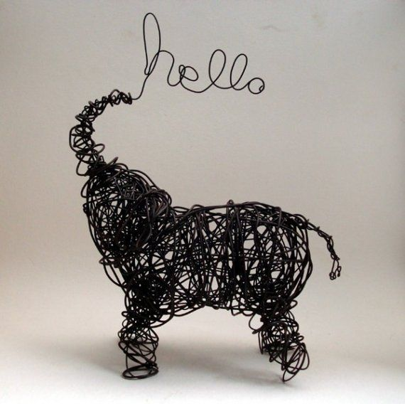 Wire  Sculpture - Baby Elephant; bluedogrose