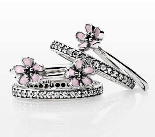 Cherry blossom ring with enamel, are you ready for spring? #PANDORAring $45